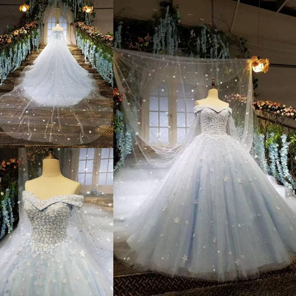 2018 New Arrival Vintage Arabic Wedding Dresses Light Blue Cape Ball Gown Court Train Lace up Back Bridal Gowns Wedding Gowns