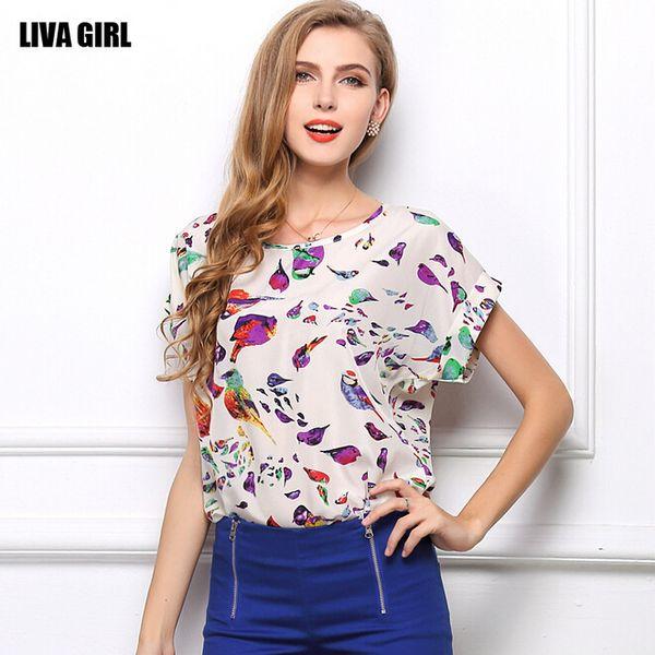 18 colors Choose Fashion Women Blouse Multi Color Print Bird Shirts Loose  Short Sleeve Casual Blouse eb7bb447d561