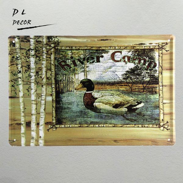 DL-Vintage Tin assina River camp home decor Casa Escritório Restaurante Bar Pinturas de ferro