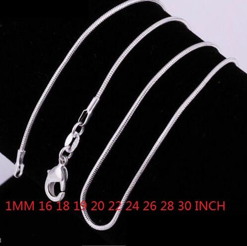 HOT SALE ! 1MM 925 STERLING SILVER SNAKE CHAIN NECKLACE 16 18 20 22 24 26 28 30 INCH fashion jewelry 60pcs/