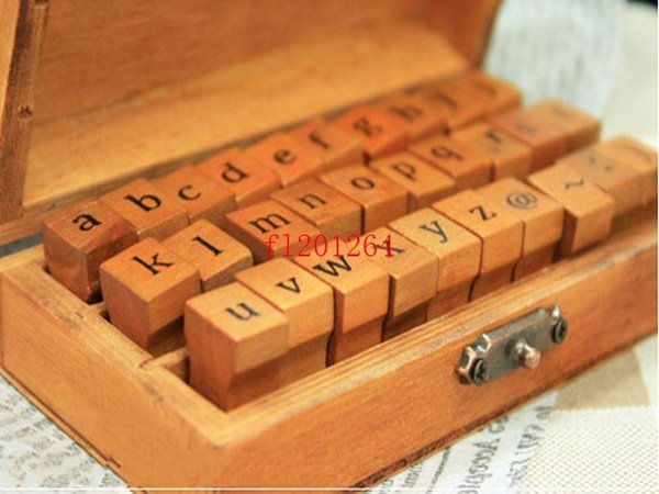 best selling Fedex DHL Fast Shipping 30pcs set Wholesale Creative Lowercase Uppercase Alphabet Wood Rubber Stamps Set With Wooden box,50sets lot
