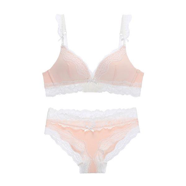 2017 nouvelle dentelle une pièce de sommeil sous-vêtements sexy sans couture femmes de mode soutien-gorge et culotte ensemble petite tasse mince confortable petite lingerie
