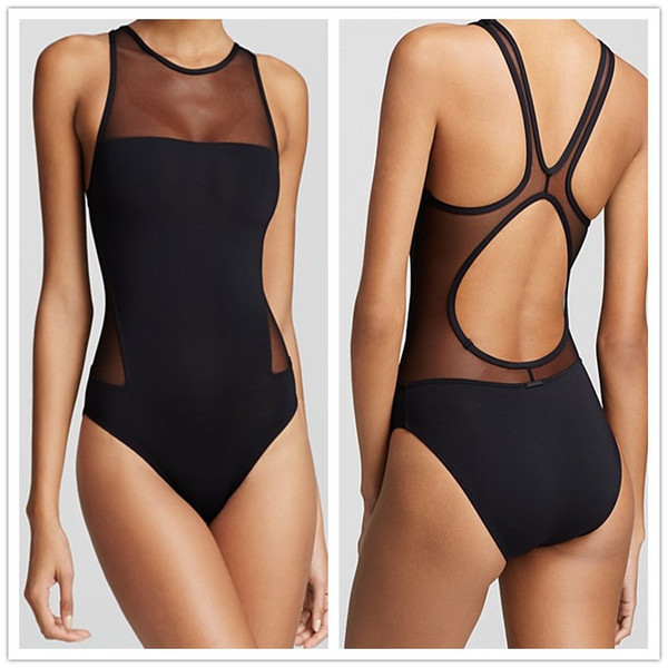 Mesh Swimwear 2018 New Summer Stlye Sexy Black/Neon Monokini Swimsuit Womens One Piece Swim Suit Bathing Suits Maillot De Bain