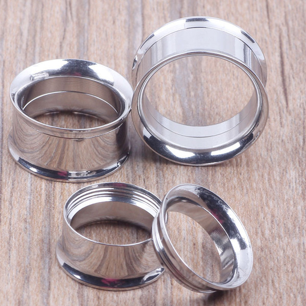 best selling Mix 5-20mm 36pcs Stainless Steel Body Jewelry double Flare internally thread Flesh Tunnel silver ear plugs