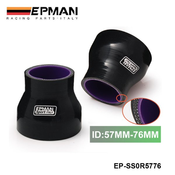 """EPMAN 2.24""""-3"""" 57mm-76mm Stoney Racing Silicone Straight Reducer Hose Joiner Coupler Turbo Intercooler Black EP-SS0R5776"""