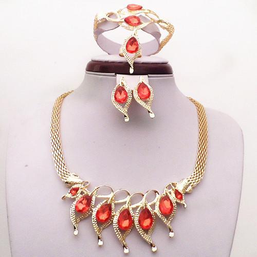 Мода 18K желтое золото заполнены Красный сапфир гранат ожерелье серьги браслет кольцо женщины бижутерия наборы свадебные аксессуары 709