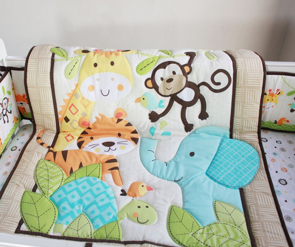Wholesale 2016 Hot selling Cotton Baby bedding set 6 Pieces embroidery tiger monkey bird Cot bedding set comfortable Crib bedding set
