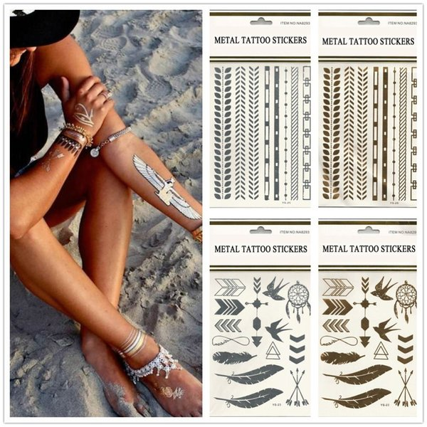 Hot Sale 10pcs/lot Feather And Jewelry Style Temporary Metallic Tattoos Golden & Silver Flash Tattoos Stickers