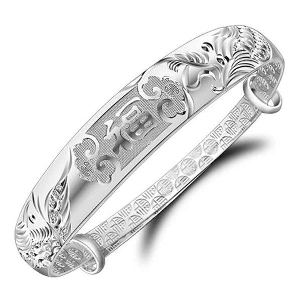 2018 silver bracelets items jewelry charm bracelets ethnic vintage bangle dragon phoenix blessing words open design