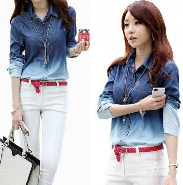 edd20e45b08 Blusa Long Sleeve Fashion Washed Denim Shirt Women Blue Gradient Patchwork  Shirt Tops Women Denim Blouse Korean Gradient Color FG1510