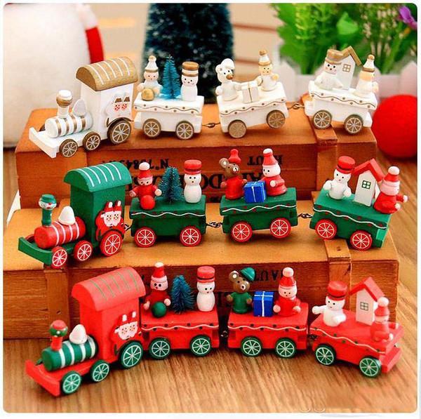Xmas natal decoração de trem de natal decoração presente mini trem de natal trem de madeira modelo de veículo toys para chidlren c289