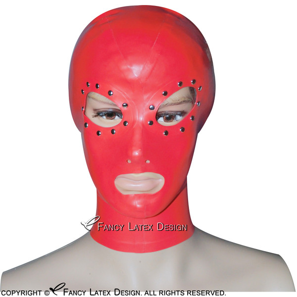 Red Sexy Latex Hoods With Rivets Rubber Masks Fetish Bondage TT-0113