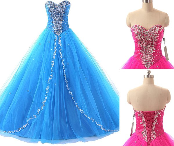 2016 High Quality Ball Gown Blue Organza Quinceanera Dresses Beading Crystal Prom Party Sweet 16 Dress Vestidos De 15 Dresses WD224
