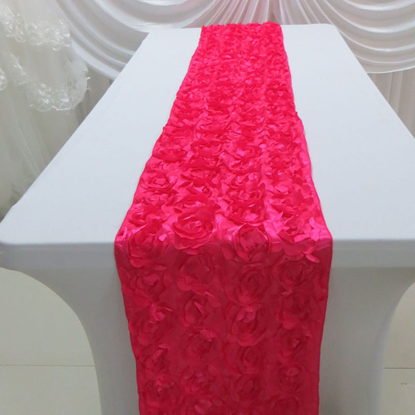 10PCS MOQ: 35cm*260cm Elegance Satin Rosette Table Runner For Wedding Use