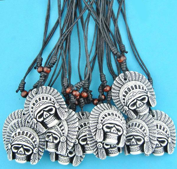 12pcs/lot Imitation Yak Bone Carved Tribal Head Skull Pendants Adjustable Rope Necklace Halloween gift