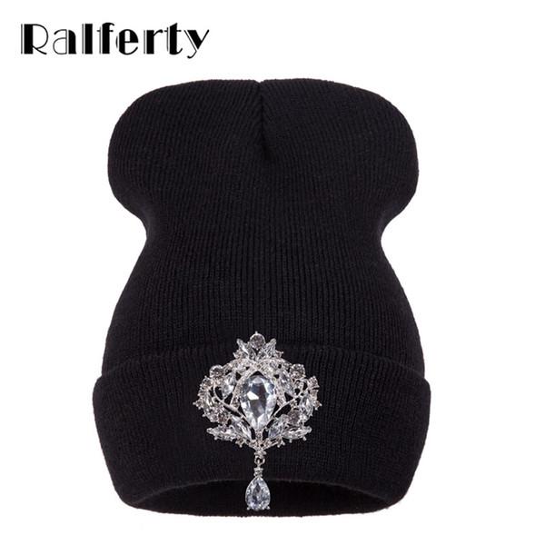 Wholesale- Ralferty Winter Women's Hats Luxury Crystal Accessory Headgear Beanie Hat For Women Caps Female Beanies bonnet femme gorros