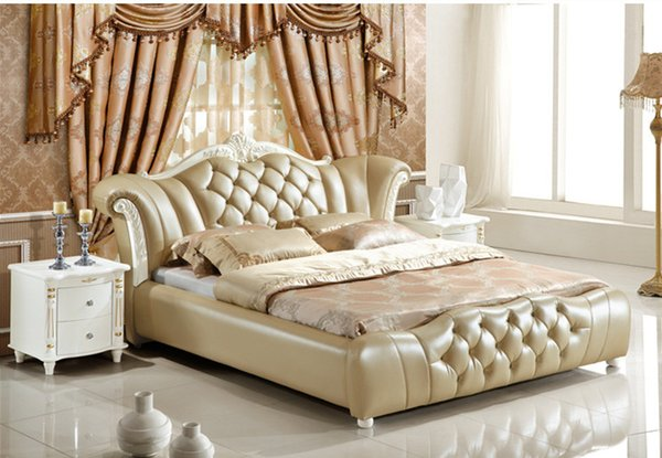 Genuine leather bed elegant tyle yellow fa ion modern double per on good quality 180 200cm a57d