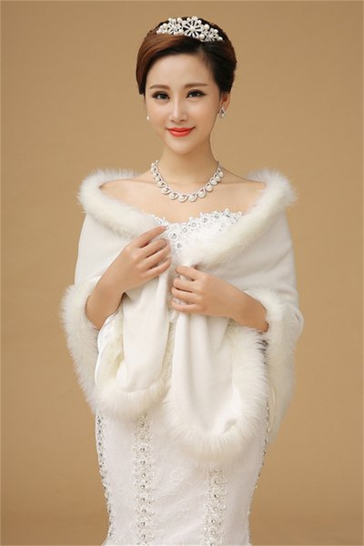 Hot Sale Winter Wedding Coats Faux Fur Shawls Off the Shoulder White Bolero Women Christmas Party Bridal Jackets Wraps Cloaks