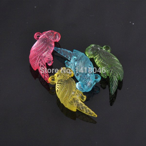 Wholesale!DIY Hot-item 30pcs Mixed Acrylic Crystal Parrot Charms Fit Kids Jewelry,Free shipping 17x41mm ,Z685 jewelry cake