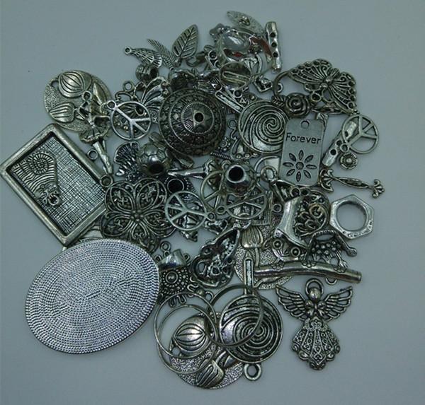 2015, bricolage 50g Lot différents mélangés tibétain argent antique breloques perles pendentifs connecteur Caples Spacer la livraison aléatoire OTS005