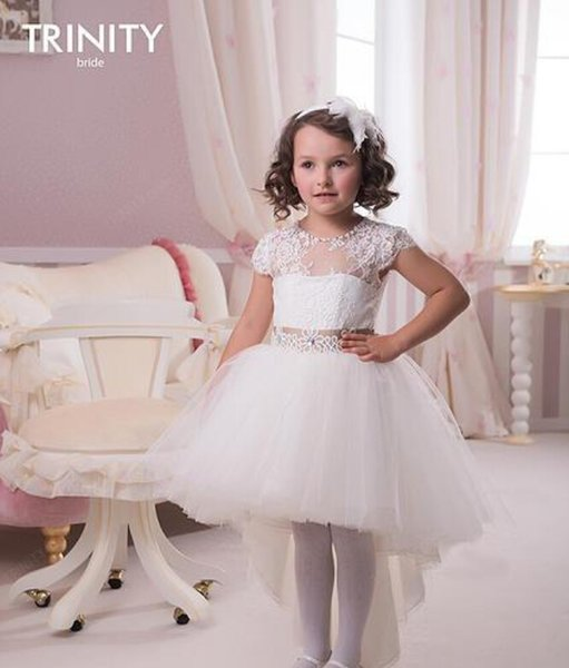 Scoop Beaded Lace Ball Gown Hi-Lo Tulle Baby Girl Birthday Party Christmas Dresses Children Girl Party Dresses Flower Girl Dresses