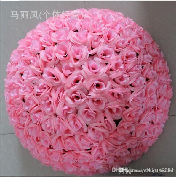 New 30cm Silk Rose Flowers Balls Kissing Balls Optional-Colors Wedding Bows Silk Rose Pomander Flower Ball Bridal Wedding Decor Favor P