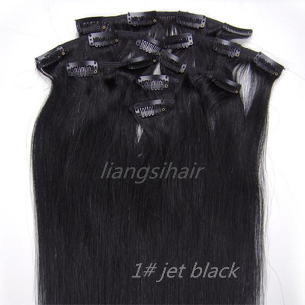 "18"" 20"" 95g 1# Jet Black Straight Brazilian virgin Remy Human Hair Extensions Clip in Hair bundles"