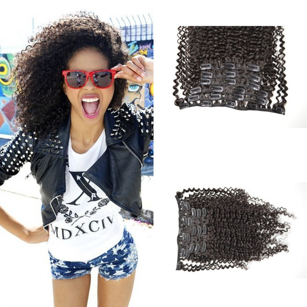 Clip in human hair extensions 120g 7pcs 4a,4b,4c Natural color G-EASY afro kinky curly clip human hair extensions Free shipping