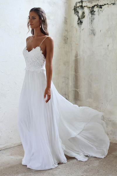 Elegant 2019 Beach Boho Wedding Dress With Spaghetti straps Applique Lace Chiffon Sweep Train Beaded Bridal Wedding Gowns Cheap
