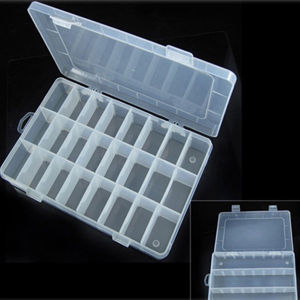 5pcs Boutique jewelry storage Adjustable Plastic 24 Compartment Storage Box Jewelry Earring Bin Case Container Storage Boxes