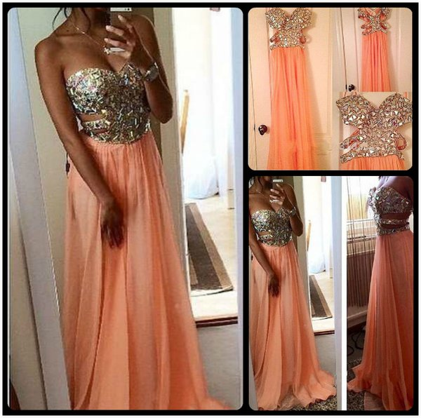 Sexy Side Cut Outs Sequins And Beaded Sweetheart Long Chiffon Coral Prom Dresses 2016 Vestidos Festa Longo