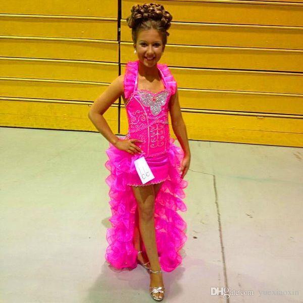 Unique filles Pageant robes A-ligne Halter Rose Haute Basse Organza Strass Perlé Petite Fleur Filles Robe Robes De Soirée Pour Les Mariages sur mesure