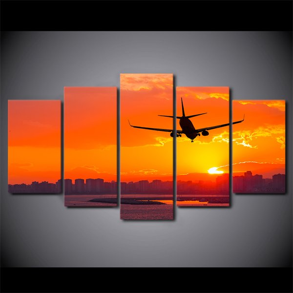 5 Pcs/Set HD Printed Airplane Sunset Landscape Canvas Art Painting Wall Pictures For Living Room Home Decor Modern Painting