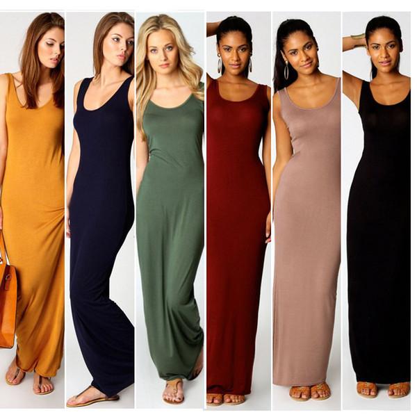 top popular Stylish Women Vest Tank Maxi Dress Silk Stretchy Casual Summer Long Dresses Sleeveless Backless Lady Dress Clothing Newest F052 2020