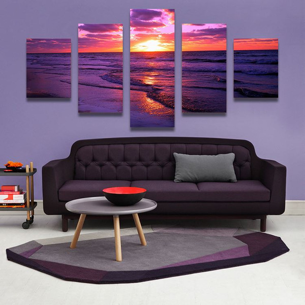 5 Panel red sunset canvas beach painting The Family Decorates Sea wave Print Oil Painting On Canvas,Wall Art Picture home decor