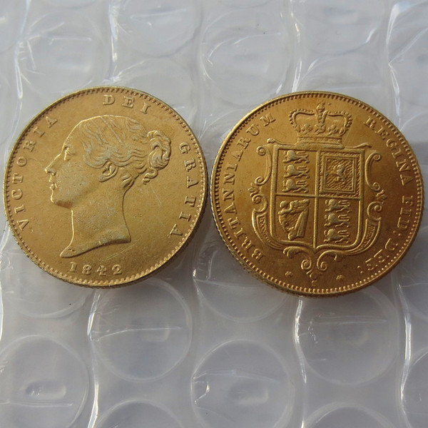 1842 Regina Vittoria Young Head Moneta d'oro Molto raro Mezza sovrana Die Copy Coin Promozione Prezzo di fabbrica a buon mercato bella casa Accessori monete