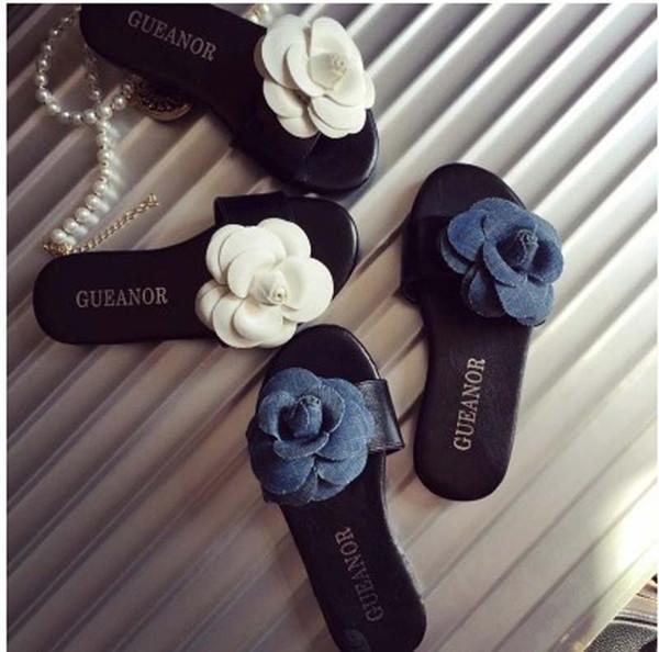 2 Colors Summer Girls Elegant Camellia flower Slipper 2015 NEW Children fashion Shoes Girls Sandals B001