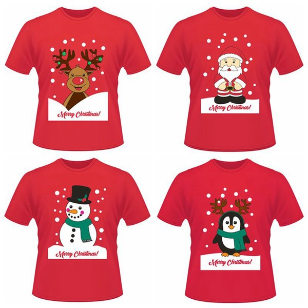 christmas funny short t shirts santa claus elk penguin summer short sleeve printed tops tee shirts ljjo3637