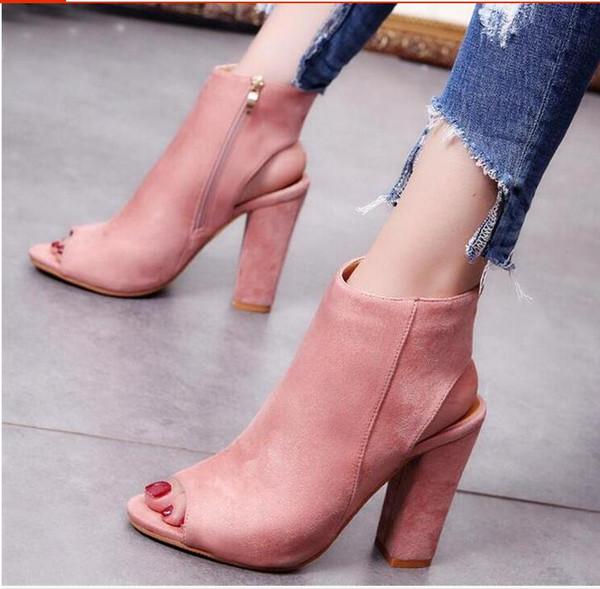 etrade168 / Mujeres Botines Peep Toe Tacón grueso Sexy Peep Toe Tacones altos Casual Partido Plataforma Bombas Gladiador Sandalias Bootie Zapatos Mujer