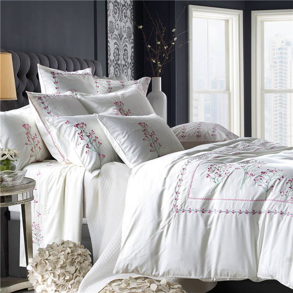 2015 wedding bedding luxury 60s tencel 182120 naked sleep beddings fine white embroidery home collection queen