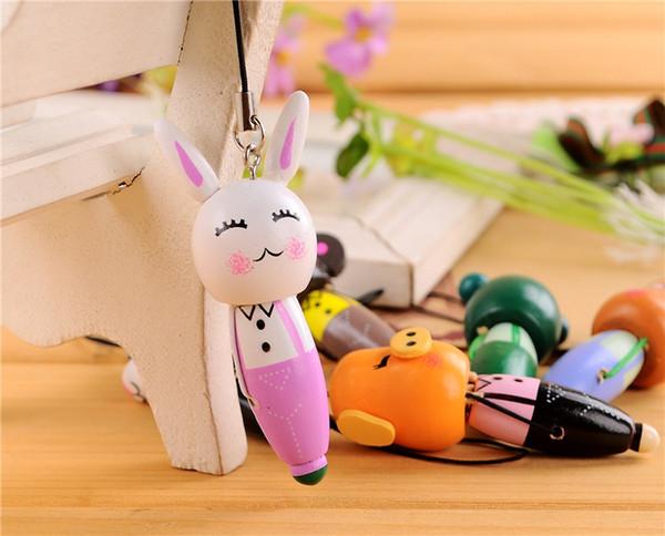 Caneta esferográfica pingente de madeira dos desenhos animados animais carregam uma cadeia de telefone móvel chaveiro pingente de celular pequena jóia por atacado