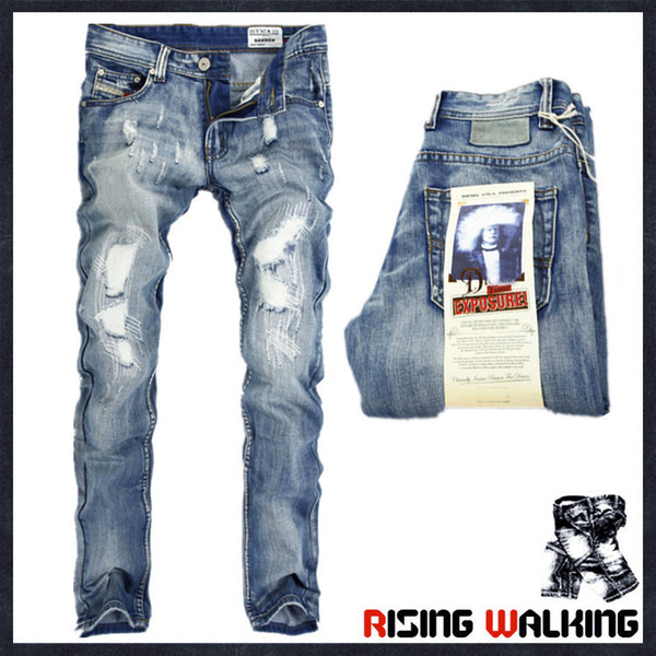 top popular Wholesale Italy Fashion Designer Men's Jeans Brand Ripped Jeans For Men Casual Business Pants 2019