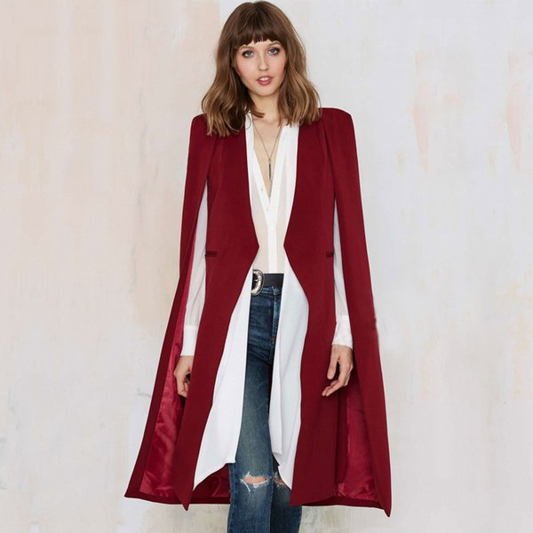 Wholesale-New 2016 Cape Design Solid Long Style Open Women's Trench Girls Cloak Coats Outerwears Tops Female Clothing