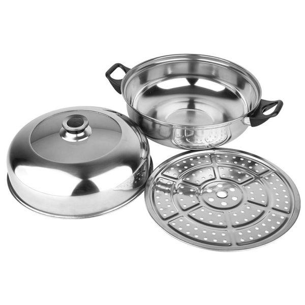 Aço Inoxidável 28 cm Dupla-camada Steamer Multi-funcional Pote De Sopa Para Fogões A Gás De Cozinha Panela De Cozimento Em Pote De Aço Inoxidável