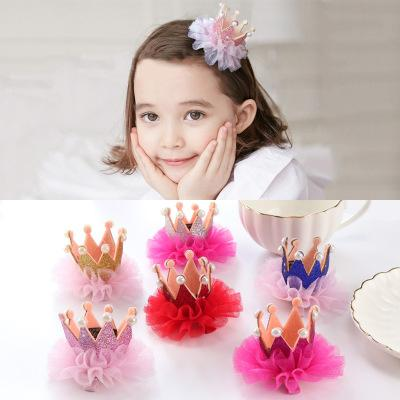 Girls Crown Princess Hair Clip Kids Lovely Cute Lace Pearl Shiny Headband Infant Hairpins Toddler Barrettes BB Children Hair Accessories D41