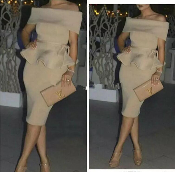 Cocktail Dresses Champagne Nude stain Dubai Cheap Party Arabic Women Off The Shoulder Straight Short Prom Dress Middle East Party Gowns
