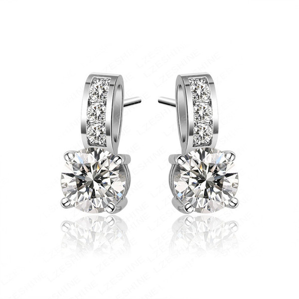 best selling New arrival Brass Cuff Earings with cubic zirconia prong set white gold plated ladies fashion zircon earrings
