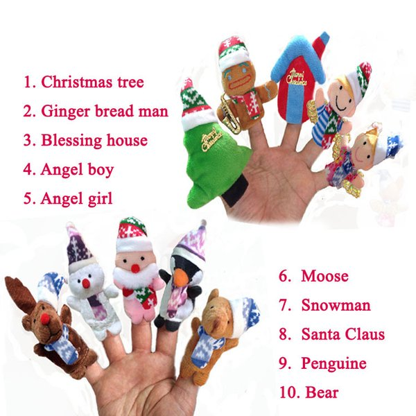 free ship Christmas character series Finger Puppets Christmas tree Snowman Bear finger puppets baby puppet toys doll 100pcs/lot