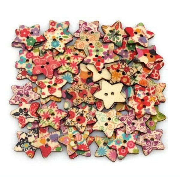 top popular NEW Star Shaped Painted Hole Wooden Buttons 25mm x25m 100pcs bags 2019