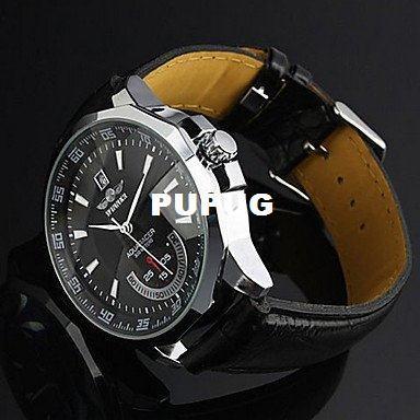 Orologio da polso Eincar Calendario da uomo Cinturino in pelle nera Orologio da polso meccanico nero automatico rotondo unisex moderno